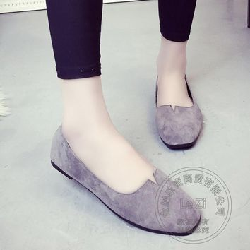 Solid Color Closed Toe Flat Shoes Women Shallow Mouth Slipon Shoes Plain Soft Leather