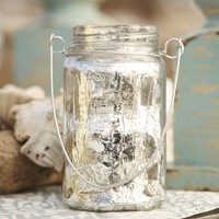 Hanging Mercury Glass Mason Jar