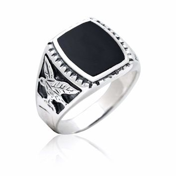 925 Sterling Silver Mens German Eagle Black Onyx Ring
