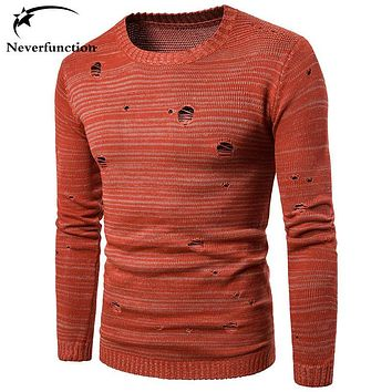 Sweater Men Solid Color Brand New Knitted Pullover Mens Fashion Casual autumn Long Sleeve Slim Ripped Holes Vintage male Sweater