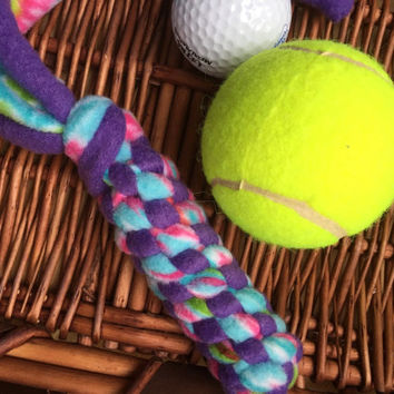 Fleece Dog Chew Toy, Doggie Dental Floss, Tug Toy,  Great Entertainment for Indoor or Outdoor Play Purple Aqua