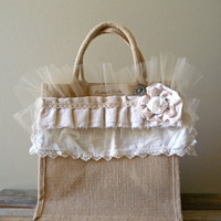 Autumn Farmer's Market. Shabby Chic Burlap Tote. French Vintage Inspired Shopping Bag. Rustic Wedding.