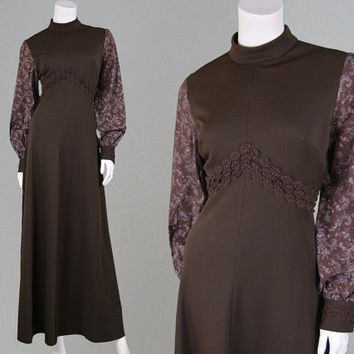 Vintage 70s Chocolate Brown Maxi Dress Boho Prairie Dress Floral Print Bishop Sleeve Lace Trim High Neck Fall Dress Winter Dress 1970s Dress