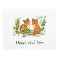 Baby Foxes Holly Holiday Christmas Doormat
