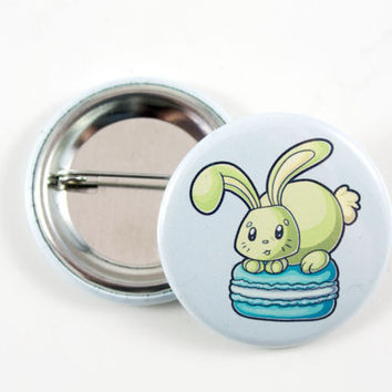 Bunny and Macaroon, Pinback Button, Badge, Cute Animal Art, Spring Rabbit