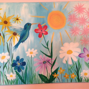 Hummingbird and Flower Painting