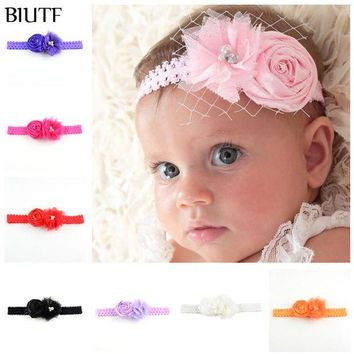 LMF78W 50pcs/lot Handmade Head Band Elastic Lace Headband with Tulle Flower and Rose Bud girl Hair Wear Christmas Gift FDA216