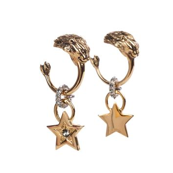 Roberto Cavalli Women Gold Lion Head Swarovski Star Post Earrings