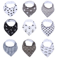9pcs a lot burp brand baby bibs saliva towel Arrow animal cartoon burp cloths triangle cotton bandana accessories