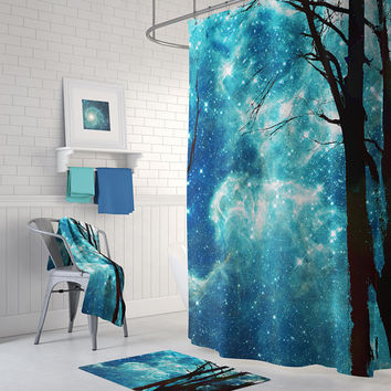 Night Sky Shower Curtain Set - Starry sky with trees,  blue and black shower curtain, Milky Way Galaxy bathroom decor