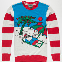 Ugly Christmas Sweater Santa's Vacay Mens Light Up Sweater Red  In Sizes