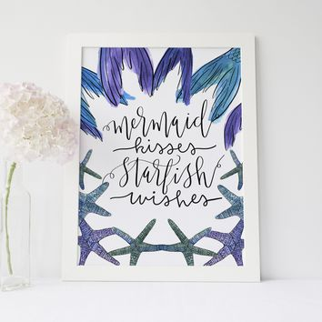 Mermaid Kisses Starfish Wishes Typography Art Print