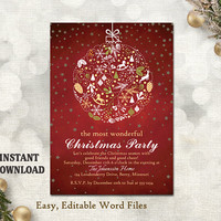 Christmas Party Invitation Card, Chalkboard Printable Template, Holiday Party Card Red Christmas Card Editable Template Gold White DIY- CH5