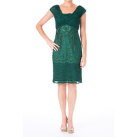 Sue Wong Womens Chiffon Embellished Cocktail Dress