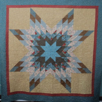 Quilt Star Burst of Teal