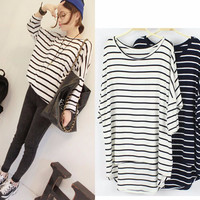 Long Sleeve Drop Shoulder Striped Loose Fitting Top