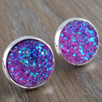 Druzy earrings- purple drusy silver tone stud druzy earrings