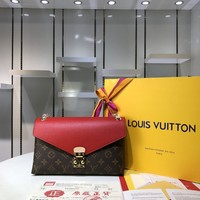Kuyou Gb2981 M41200  Louis Vuitton Lv Monogram Cross Body Bag In Two-tone Leather Red Shoulder Bag  26*17*6cm