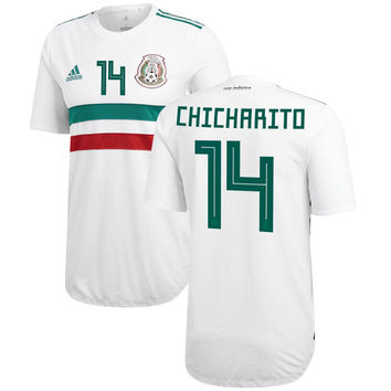 Mexico Chicharito #14 futbol 2018/2019 Away Custom Jersey – White/Green