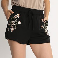Only One Floral Embroidered Shorts | Ruche