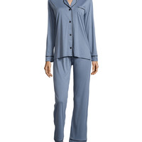 Bella Long-Sleeve Two-Piece Pajama Set, Gray/Black, Size: