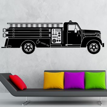 Vinyl Decal Cool Fire Fighter Truck Hot Ride Decoration for Boy's Room Unique Gift (ig2017)