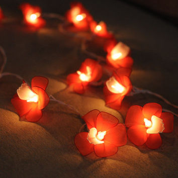 Handmade Hot Red orchid flower fairy string lights wedding party floral home decor patio gift