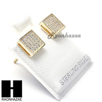 Iced Out Sterling Silver .925 Lab Diamond 7mm Square Push Back Earring SE005G