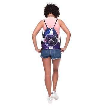 Galaxy Cat Purple & White Drawstring Bag Backpack
