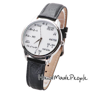 Math on White - Original Unisex Wrist Watch with a Real Leather Strap - Free Shipping Worldwide