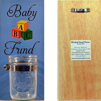 Wooden Wall Change Jar 10x5 Sign - Baby Fund - Blue