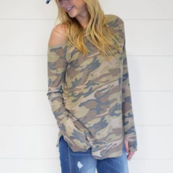 Camo Off the Shoulder Long Sleeve Top