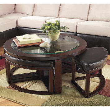Signature Designs by Ashley Marion Dark Brown Cocktail Table and Stools (Set of 5)   Overstock.com Shopping - The Best Deals on Coffee, Sofa & End Tables