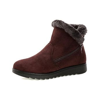 New Fashionable Waterproof Wedge Winter Warm Snow Boot