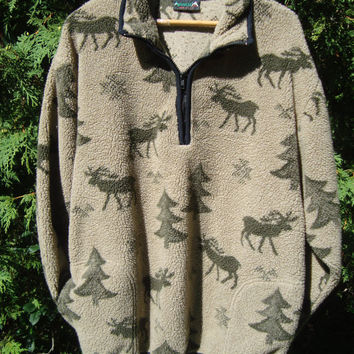 Nature 90s Fleece Pullover Deer Trees Outdoorsy Vintage Fleece Minimalist Pullover Fleece Jacket Fleece Sweater Oversize 90s Clothing