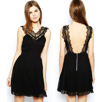 Black Lace-Paneled Backless Mini Dress