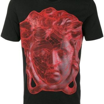 CREYDC0 VERSACE COLLECTION BLACK WITH RED PRINT T SHIRT SIZE S