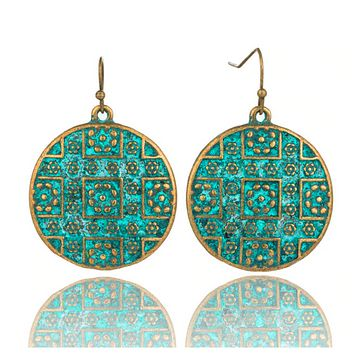 Brass Boho Chic Round Drop Earrings (Gold or Copper)