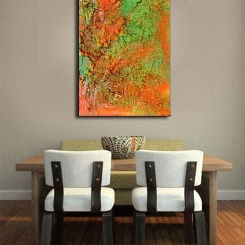 48''Abstract Painting, Sculpture Mixed Media Art, Orange, Green, Copper, Contemporary Modern Wall Decor, Rich Unique Texture, Custom Order