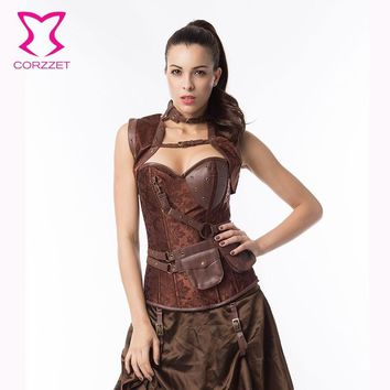 Corzzet Black Brocade& Leather Steel Boned Steampunk Corset Plus Size Burlesque Costumes Armor Bustier Top With Shoulder Bolero