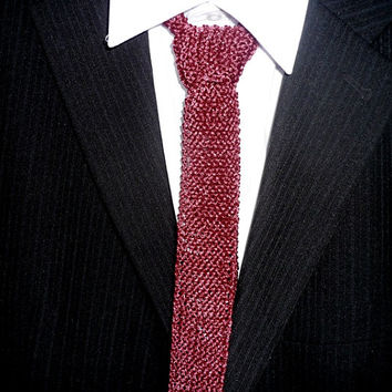 Knit  Tie, Mens Knit Tie, Knit Ties, Knitted Tie, Men Tie, wine color / burgundy color, gift for Him, gift under 20, Valentines gifts