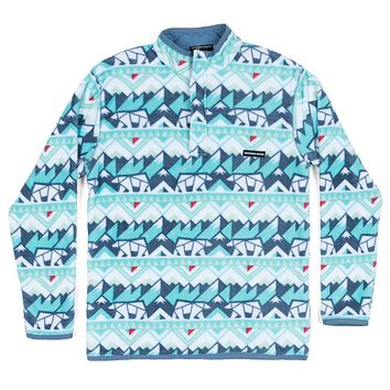 Youth Fairbanks Pullover in White & Teal by Southern Marsh - FINAL SALE