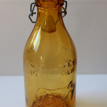 THATCHER'S DAIRY Milk BOTTLE,Thatcher's Dairy milk bottle,1965 amber glass, intage brown glass bottle,One Quart Milk Bottle with Sealing Lid