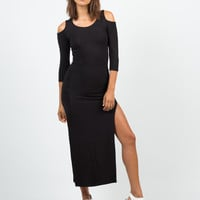 Cold Shoulder Double Slit Maxi Dress