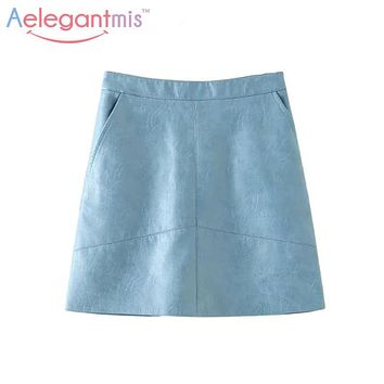 Aelegantmis High Quality 2016 Autumn Fashion Pu Leather Skirt Women High Waist A-line Mini Skirts Sexy For Ladies