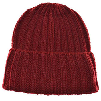 City Hunter Men's Cuffed Beanie Knit Winter Cable Hat Burgundy