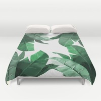 Tropical Palm Print Duvet Cover by Tamsin Lucie