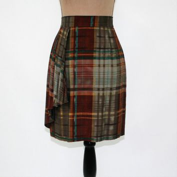 Short Plaid Skirt Women XS Small Pencil Skirt Fall Brown Teal Rust Size 2 Skirt Womens Clothing