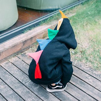 Spring Autumn Thin Kids Rainbow Dinosaur Hoodies Clothes Christmas Shirt Boy Coat Jacket Sweatshirts Outwear Photography INS
