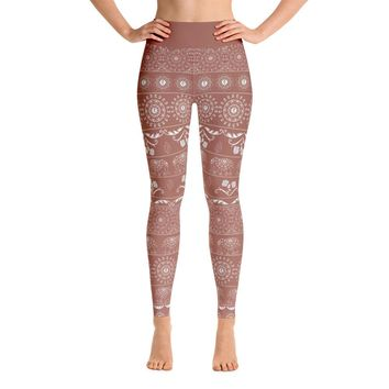 Elephant Mandala in Copper Yoga Leggings